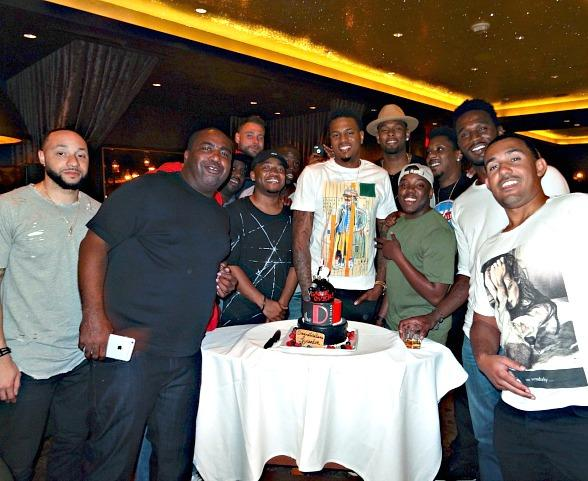 Brandon Rush celebrates Bachelor Party with a few close friends in Andiamo Italian Steakhouse inside the D Casino Hotel