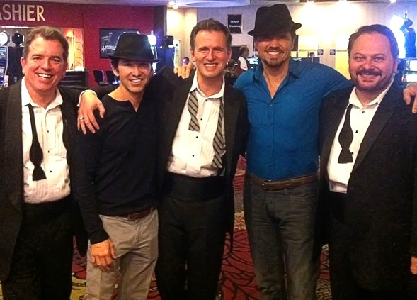 Bruce Ewing, Ted Keegan & Randal Keith with Bernie Blanks, and former Las Vegas Phantom/ Broadway star Brent Barrett after the Sunday, May 26, 2013 performance of THE PHAT PACK at the showroom of the Plaza Hotel & Casino