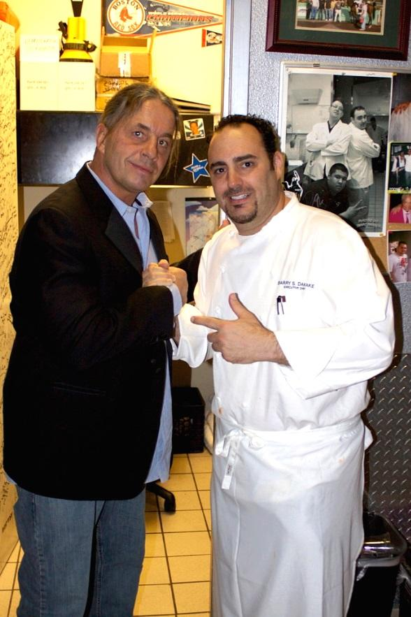"Bret ""The Hitman"" Hart with Executive Chef Barry S. Dakake at N9NE Steakhouse in Las Vegas"