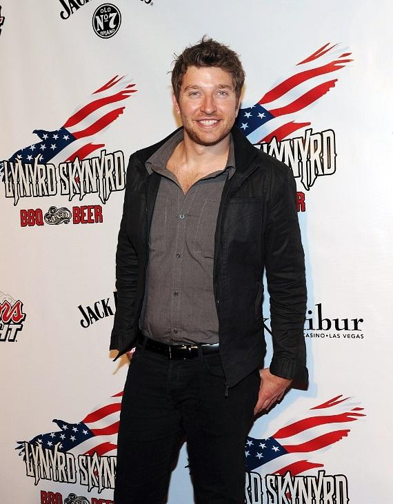 Brett Eldredge on the red carpet at the official American Country Awards after-party at Lynyrd Skynyrd BBQ & Beer at Excalibur