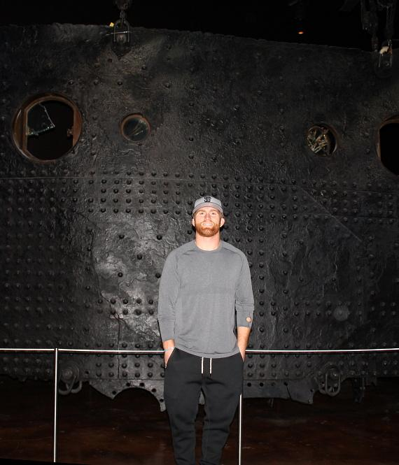 "Bruce Miller with the ""Big Piece"" recovered from the Titanic"