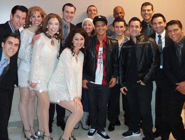 Bruno Mars with cast of JERSEY BOYS at Paris Las Vegas