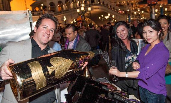 Bubble-Licious Guests Enjoying a Pour from a 15 liter Bottle of Ace of Spades Champagne