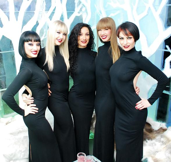 Crazy Horse Paris ladies in their black dresses at Minus5 Ice Bar