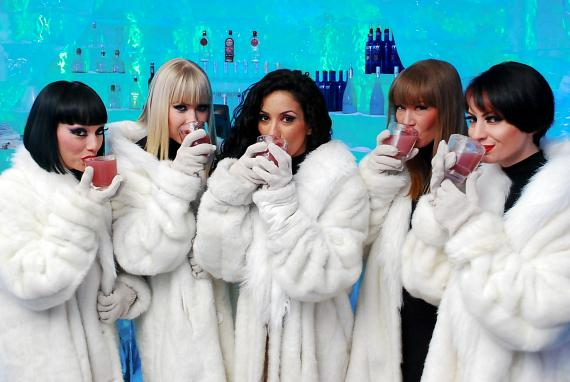 "The Crazy Horse Paris ladies taste the ""French Kiss"" drink at Minus 5 Ice Bar"