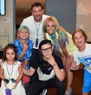 Skrillex and Jeremy Scott visit Britney Spears, her two sons, and brother Bryan at Britney: Piece of Me