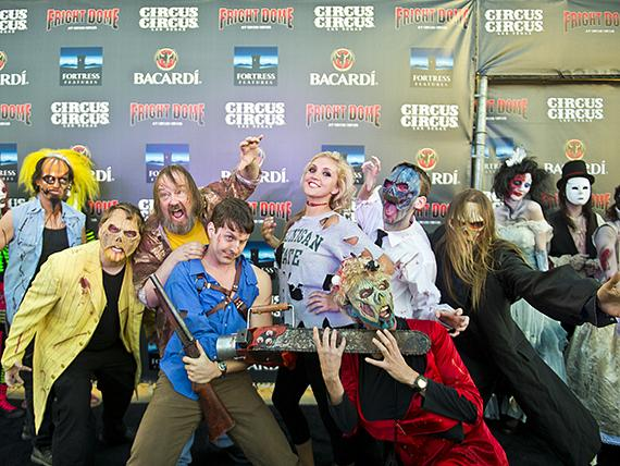 Cast members of Evil Dead: The Musical at Fright Dome in Las Vegas
