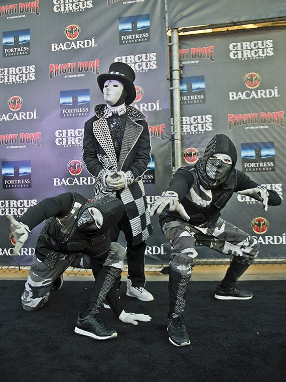 Cast members of Jabbawockeez at Fright Dome in Las Vegas