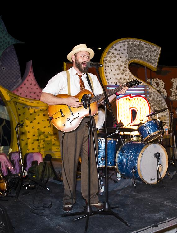 The All-Togethers perform at the Neon Museum's Boneyard Bash in Las Vegas