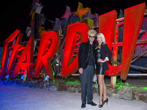 Murray SawChuck and wife Chloe Louis Crawford with vintage StarDust sign at the Neon Museum