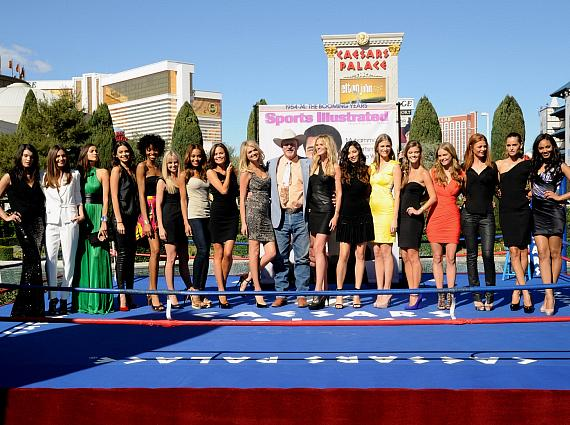 ports Illustrated Swimsuit Edition models pose with County Commissioner Tom Collins. From left to right: Crystal Renn, Alyssa Miller, Irina Shayk, Michelle Vawer, Adaora, Genevieve Morton, Kirby Griffin, Chrissy Teigen, Kate Upton, Tom Collins, Anne V, Jessica Gomes, Julie Henderson, Jessica Perez, Nina Agdal, Cintia Dicker, Izabel Goulart, Ariel Meredith