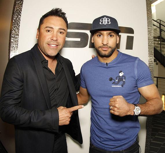 Oscar De La Hoya with Amir Khan