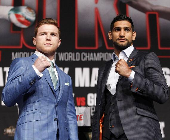 "Canelo Alvarez (46-1-1, 32 KOs) and British top fighter and former two-time world champion Amir ""King"" Khan (31-3, 19 KOs) met today for one final press conference"