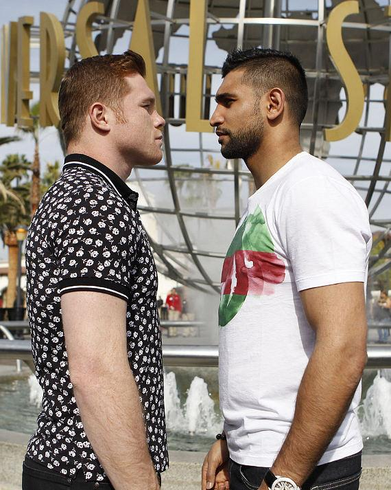 Canelo Alvarez and Amir Khan face to face at Universal Studios