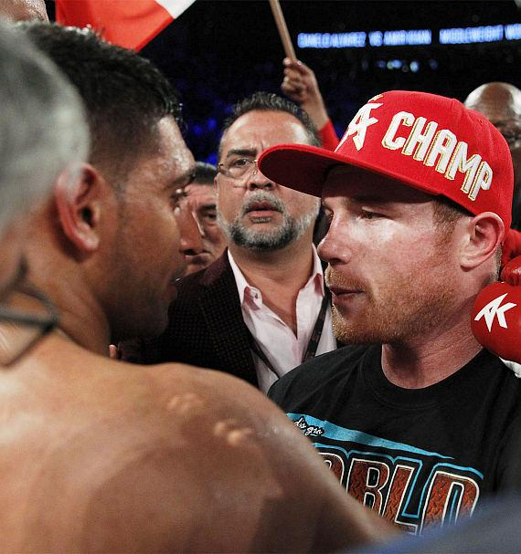 "Canelo Alvarez and Amir ""King"" Khan after the fight"
