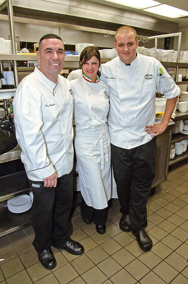 Carla Pellegrino in the kitchen with chefs