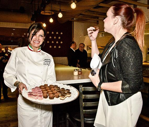 Chef Carla Pellegrino serving desserts at Meatball Spot