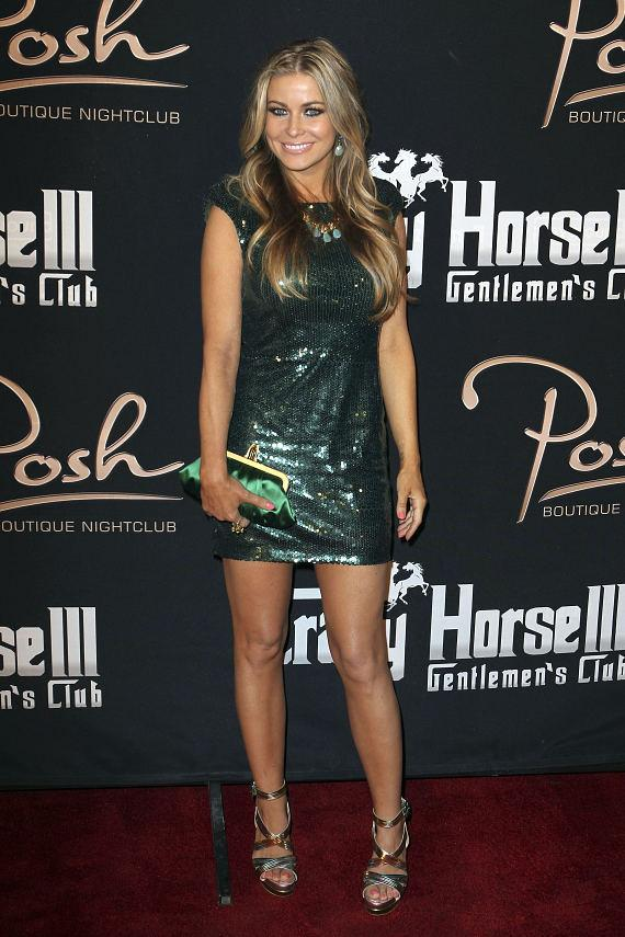 Carmen Electra posing on the red carpet during her special birthday party at Crazy Horse III and Posh Boutique Nightclub