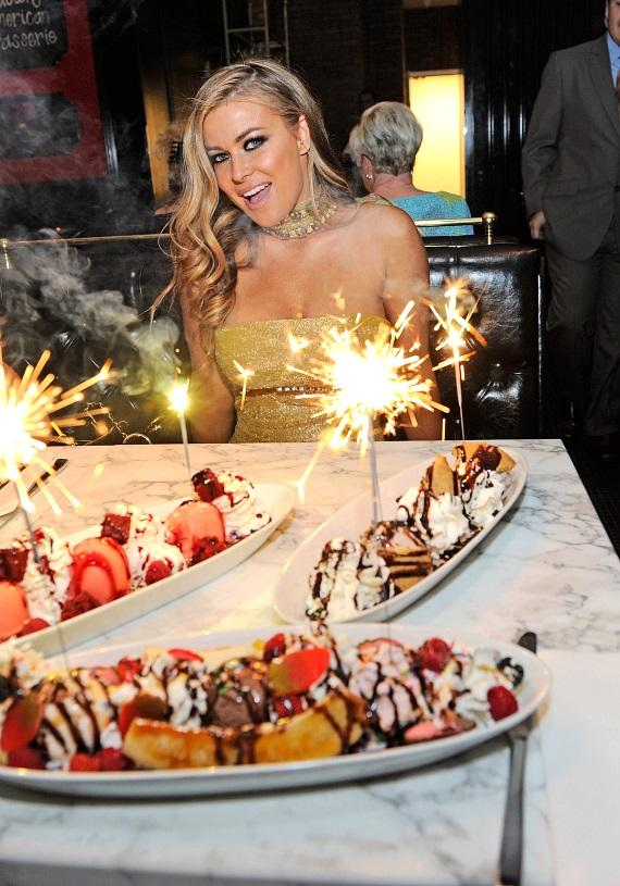Carmen Electra with ice cream sundaes at Sugar Factory American Brasserie at Paris Las Vegas