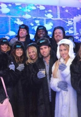 Quarterback Carson Palmer and Defensive End Frostee Rucker of the Arizona Cardinals visit Minus5 Ice Bar at The Shoppes at Mandalay Bay