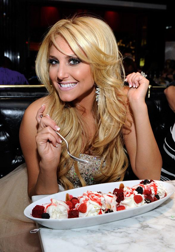 Cassie Scerbo with a birthday ice cream sundae at Sugar Factory American Brasserie