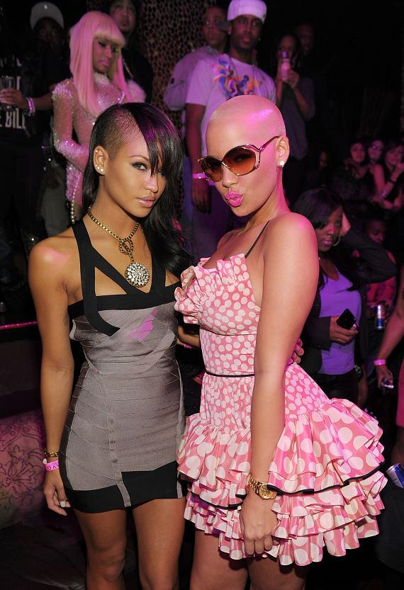 Cassie and Amber Rose with Nicky Minak in background at TAO Las Vegas