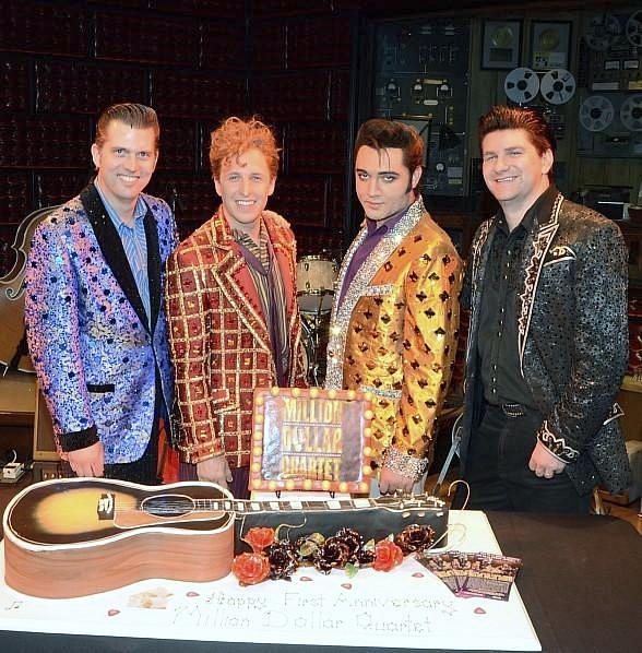 Cast Members Robert Britton Lyons, Martin Kaye, Justin Shandor and Benjamin D. Hale 2; First Anniversary 2.19.14 Caesars Entertainment-588a