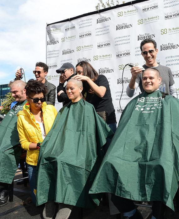 Cast of Jersey Boys cut hair to support St Baldricks Day fundraiser for childhood cancer research at New York - New York Hotel