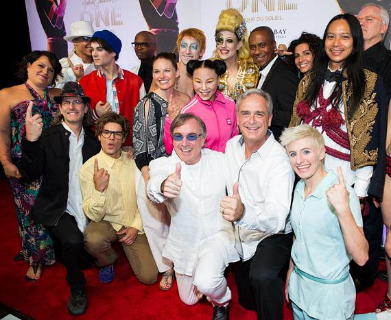 Cast of Michael Jackson ONE with Danielle Lamarre, President/CEO of  Cirque du Soleil, and Chuck Bowling, President Mandalay Bay