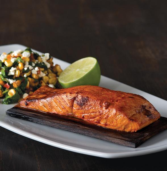 Cedar Plank Salmon + Corn Succotash 