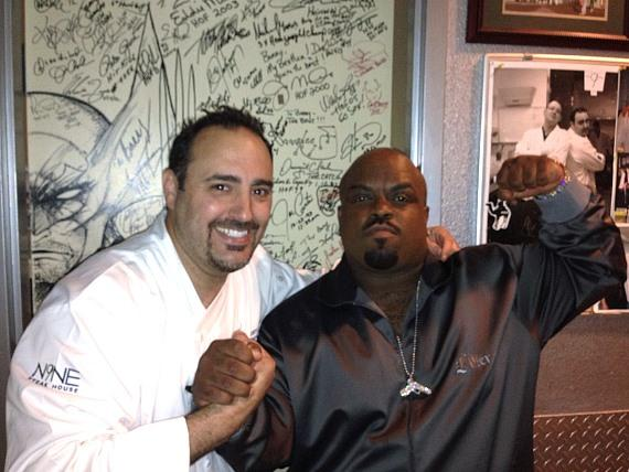 "Cee-Lo Green stops by Executive Chef Barry Dakake's celebrity ""Shake Down Door"" while enjoying dinner at N9NE Steakhouse at Palms Casino Resort in Las Vegas"