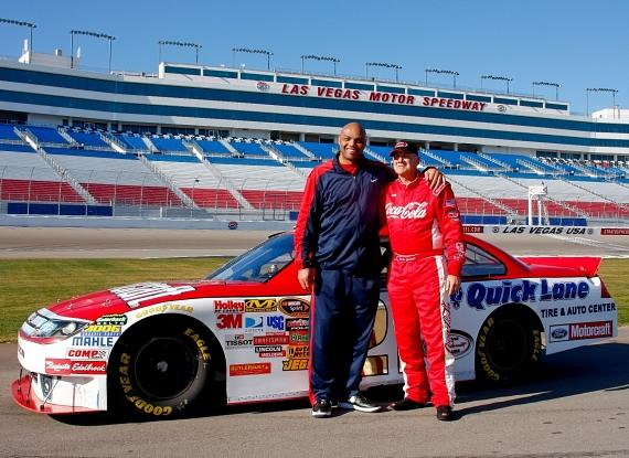 Charles Barkley and Dale Jarrett at Las Vegas Motor Speedway