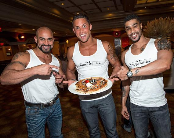 Chippendales John Rivera, Matt Marshall, Alvester Martin with their Mint Chocolate Chippendales pancake