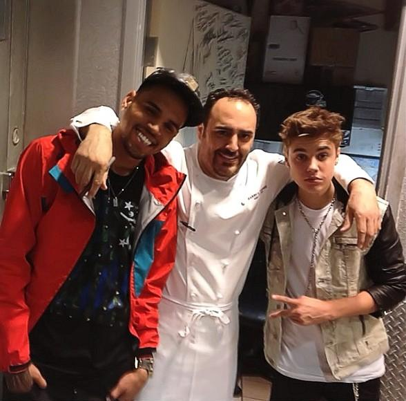 Chris Brown, Chef Barry Dakake and Justin Bieber