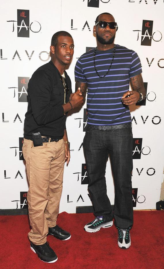 Photo of Chris Paul & his friend basketball player  LeBron James - NBA