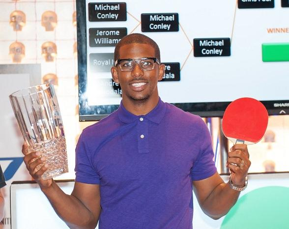 Chris Paul With Trophy at TopSpin Charity Ping Pong  Tournament During Carnevale at The Palazzo Las Vegas