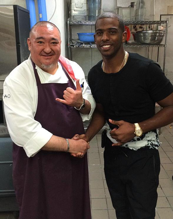 Chef Sean Kinoshita with Los Angeles Clippers' point guard Chris Paul at TAO