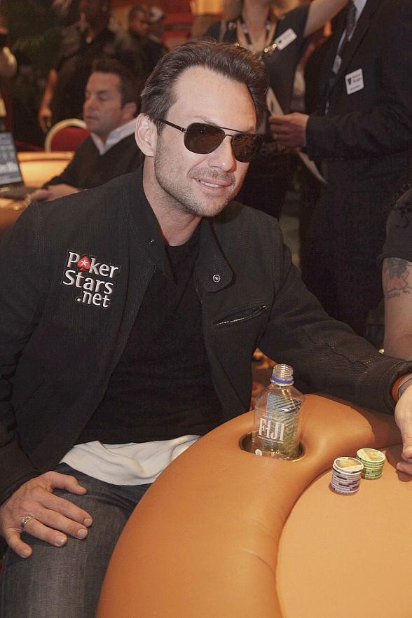 Christian Slater at poker table