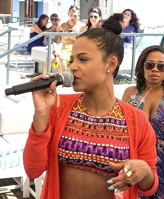 Christina Milian at the LINQ Pool