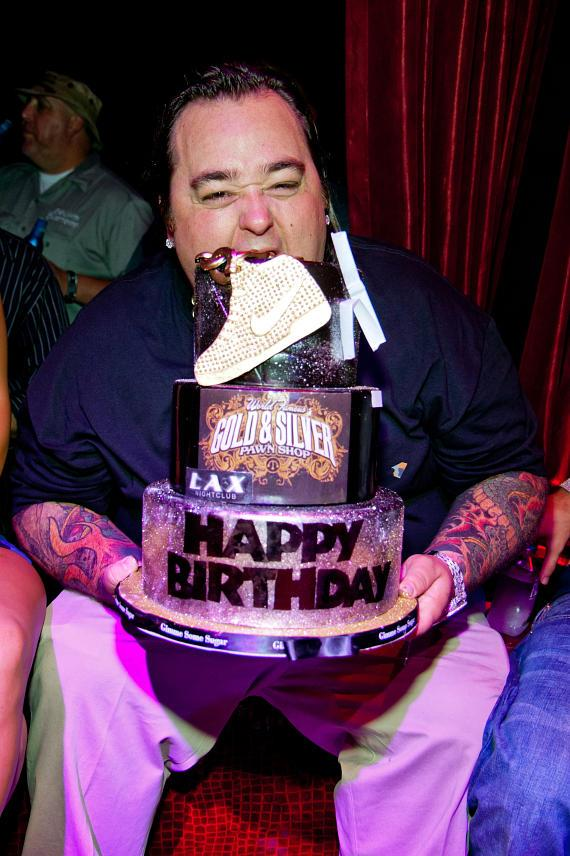 Chumlee eating cake at LAX Nightclub