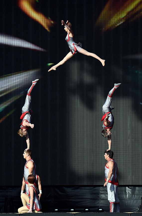 Cirque du Soleil performers demonstrate amazing feats during Rock in Rio USA at the MGM Resorts Festival Grounds