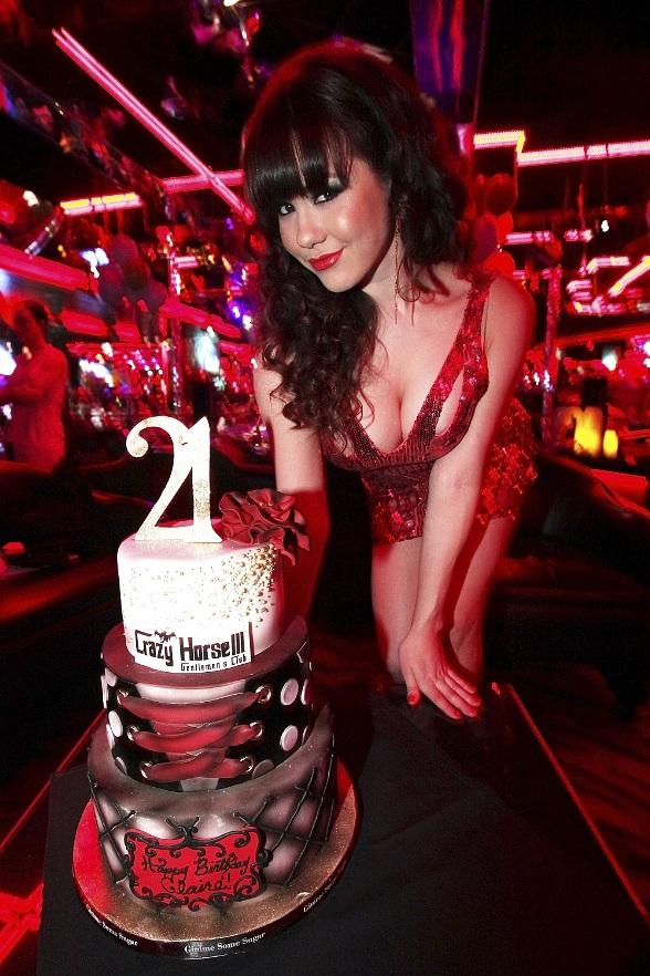 Claire Sinclair with birthday cake