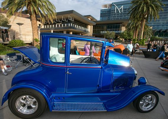Classic cars on display at M Resort Spa Casino during Beers, Gears & Bikinis Car Show