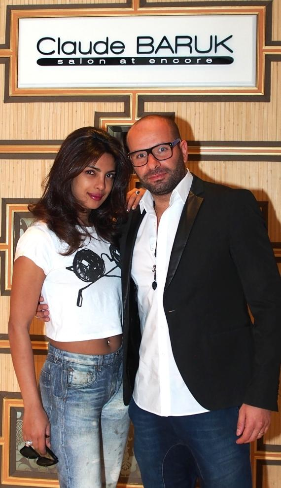 Bollywood Superstar Priyanka Chopra with Claude Baruk at his salon at Encore