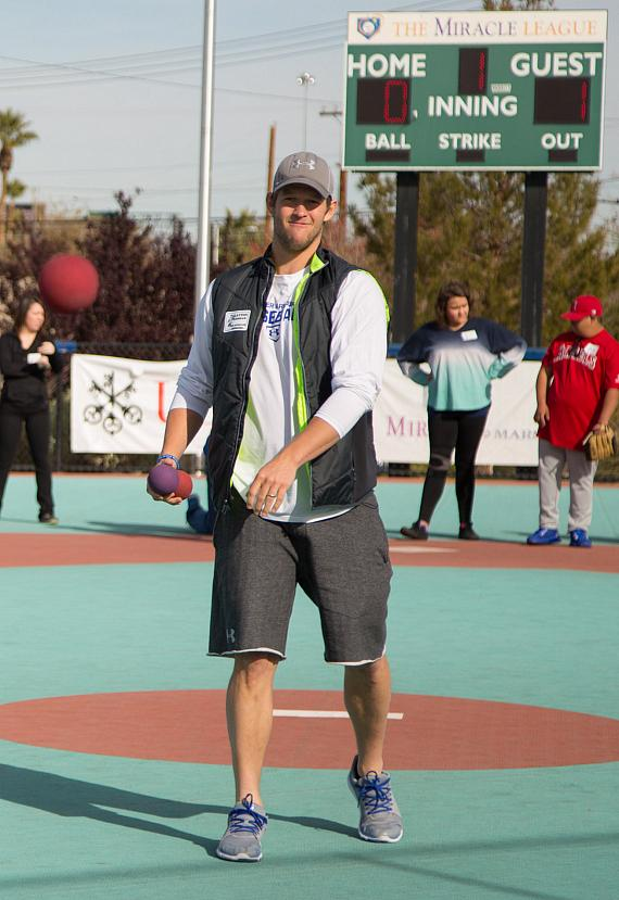 Clayton Kershaw Participates in a game at The Miracle League of Las Vegas