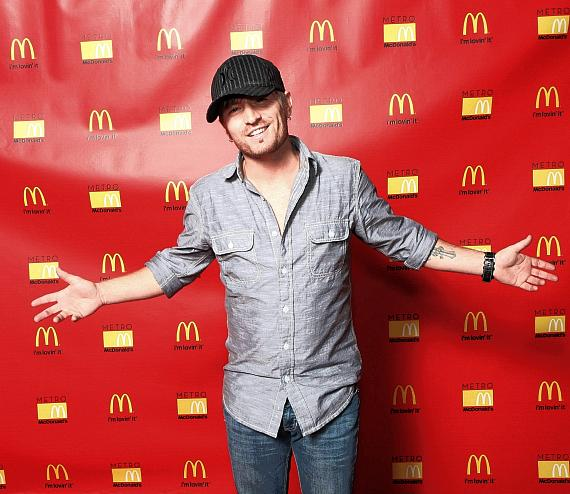 Singer Cody Collins on red carpet at Metro McDonald's in Las Vegas