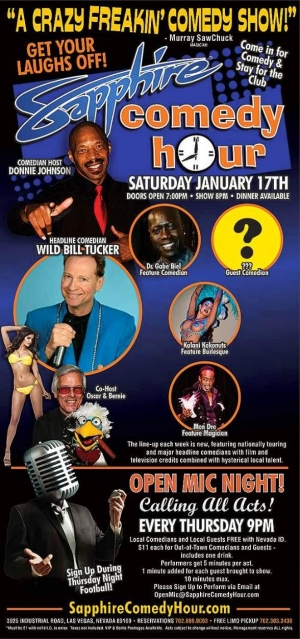 Comedian Wild Bill Tucker to Headline Sapphire Comedy Hour on Saturday, Jan. 10