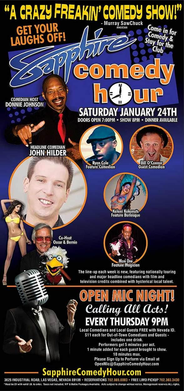 Comedian John Hilder to Headline Sapphire Comedy Hour on Saturday, Jan. 24