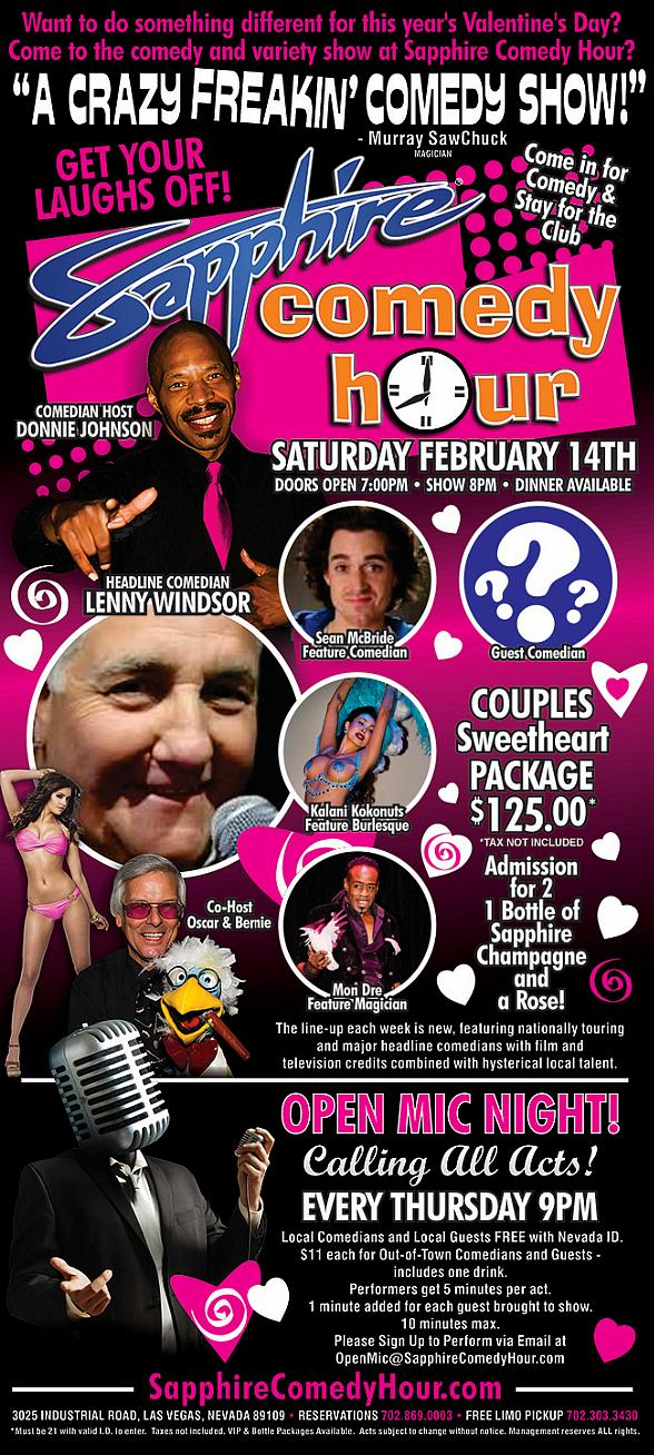 Comedian Lenny Windsor to Headline Sapphire Comedy Hour on Valentine's Day, Saturday, Feb. 14