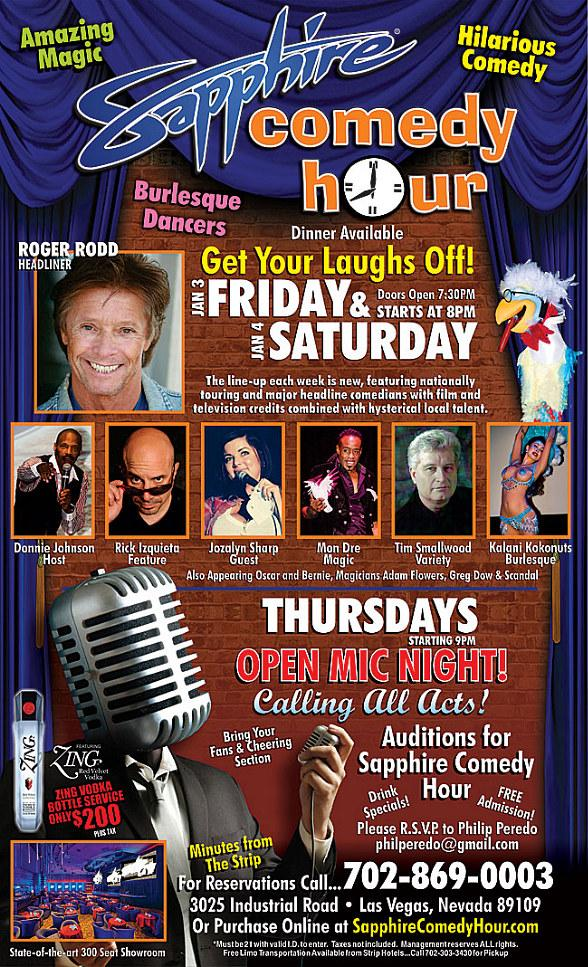 Roger Rodd to Headline Sapphire Comedy Hour at Sapphire Las Vegas Friday, Jan. 3 and Saturday, Jan. 4